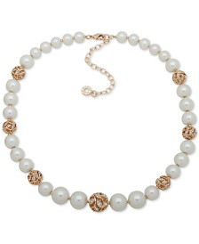 "Anne Klein Gold-Tone Pavé Filigree Ball & Imitation Pearl Collar Necklace, 16"" + 3"" extender"