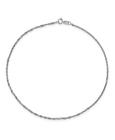 Singapore Chain Anklet in 14k White Gold