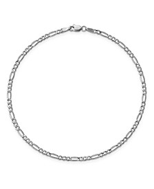 Figaro Chain Anklet in 14k White Gold