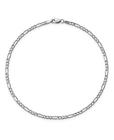 Figaro Chain Anklet in 14k White Gold