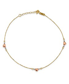 "Puffed Heart Anklet with Adjustable 1"" Extender in 14k Multi-Gold"