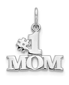 #1 Mom Charm in 14k White Gold