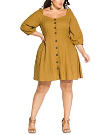 Trendy Plus Size Button-Front A-Line Dress
