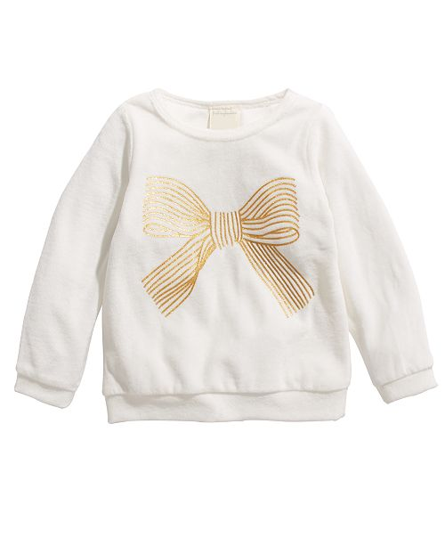 First Impressions Toddler Girls Bow-Print Velour Top, Created For Macy's