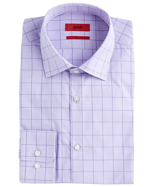 Hugo Boss HUGO Men's Slim-Fit Light Purple Windowpane Dress Shirt