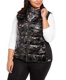 Plus Size Printed Puffer Vest