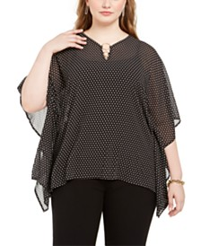 Michael Michael Kors Plus Size Dot-Print Kimono-Sleeve Top