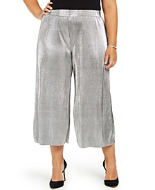 Plus Size Pleated Metallic Pants