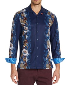 Tallia Men's Slim-Fit Performance Stretch Floral Long Sleeve Camp Shirt