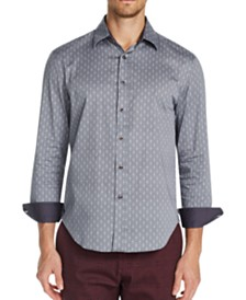 Tallia Men's Slim-Fit Stretch Mosaic Long Sleeve Shirt
