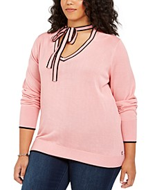 Plus Size Cotton Tie-Neck Sweater