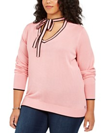 Tommy Hilfiger Plus Size Cotton Tie-Neck Sweater