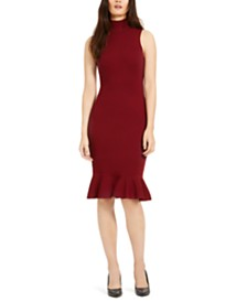 Michael Michael Kors Mock-Neck Knit Flounce Dress