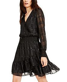 Michael Michael Kors Shiny Plaid Smocked Dress