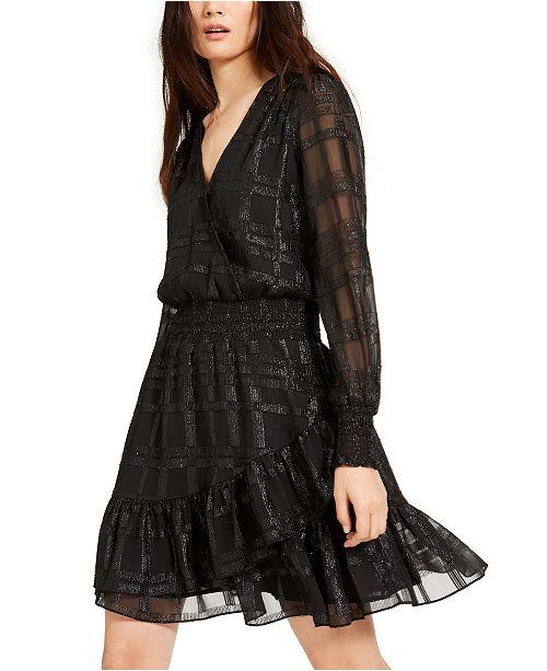 Michael Kors Shiny Plaid Smocked Dress