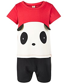 Baby Boys Cotton Colorblocked Panda Sunsuit, Created for Macy's
