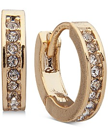 Lauren Ralph Lauren Extra Small Gold-Tone Pavé Huggie Hoop Earrings 1/3""