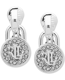 Lauren Ralph Lauren Pavé & Logo Padlock Clip-On Drop Earrings