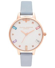 Olivia Burton Women's Rainbow Bee Chalk Blue Leather Strap Watch 34mm