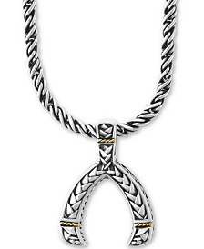 "EFFY® Wishbone 17"" Pendant Necklace in Sterling Silver & 18k Gold"