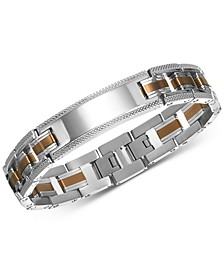 Men's ID Link Bracelet in Stainless Steel, Sterling Silver and Bronze PVD