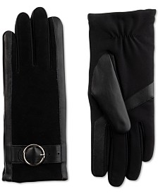 Isotoner Signature Women's SleekHeat® Genuine Leather Gloves with Buckle