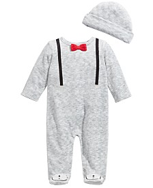 First Impressions Baby Boys 2-Pc. Suspender Coveralls & Hat Set, Created For Macy's