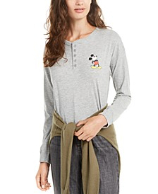 Juniors' Mickey Mouse Henley T-Shirt