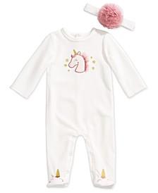 Baby Girls 2-Pc. Unicorn Coveralls & Headband Set, Created For Macy's