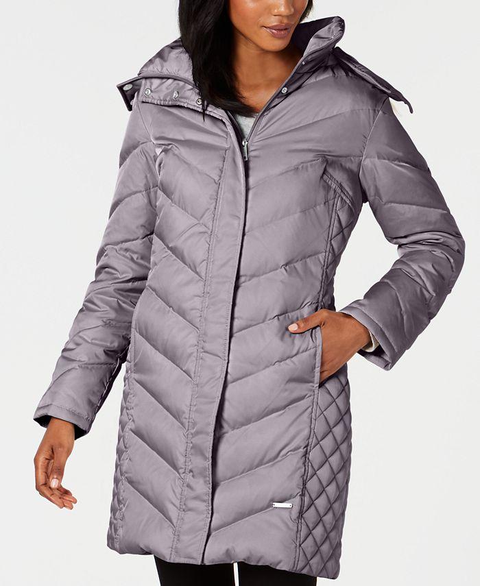 Kenneth Cole - Petite Faux-Fur-Trim Hooded Puffer Coat