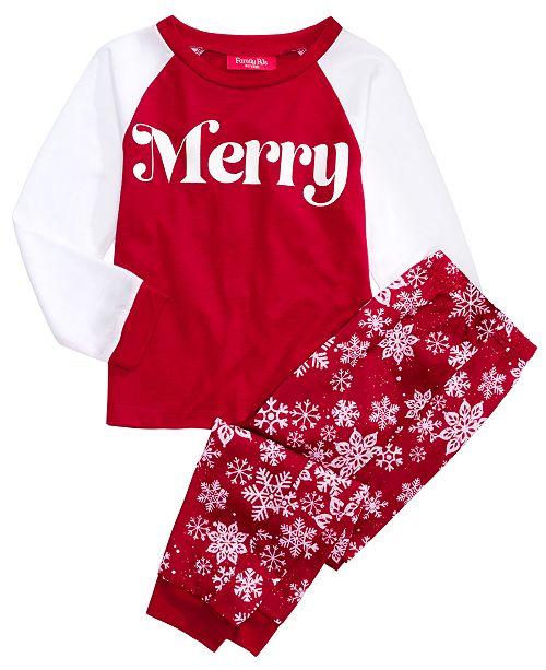 Family Pajamas Matching Kids Merry Pajama Set, Created For Macy's