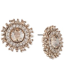 Gold-Tone Pavé & Stone Button Earrings