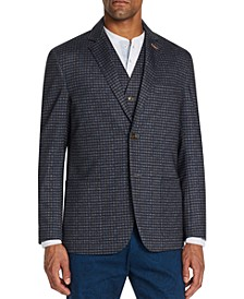 Men's Slim-Fit Stretch Heather Knit Plaid Blazer