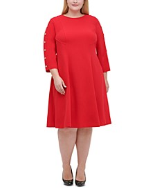 Plus Size Button-Sleeve Fit & Flare Dress