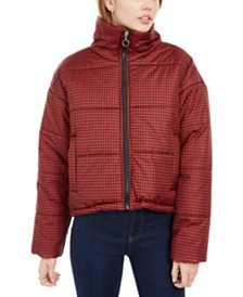 Celebrity Pink Juniors' Plaid Puffer Coat