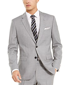 Men's Slim-Fit Medium Gray Stripe Suit Separate Jacket