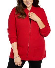 Karen Scott Plus Size Knit Zip-Up Sweater, Created For Macy's