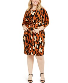MSK Plus Size Leopard-Print Tie-Front Dress