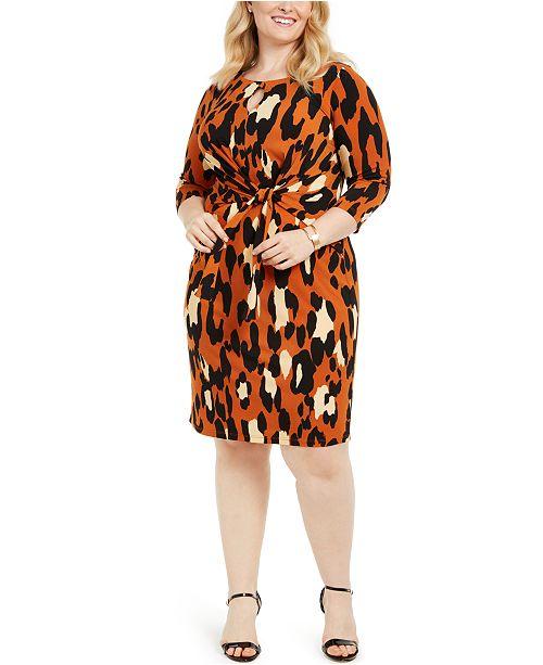 Plus Size Leopard-Print Tie-Front Dress
