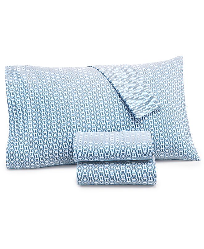 Charter Club CLOSEOUT! Diamond Geo Cotton 550-Thread Count 3-Pc. Twin Sheet Set, Created for Macy's