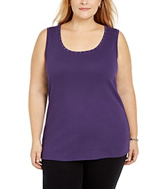 Plus Size Cotton Studded Tank Top, Created for Macy's