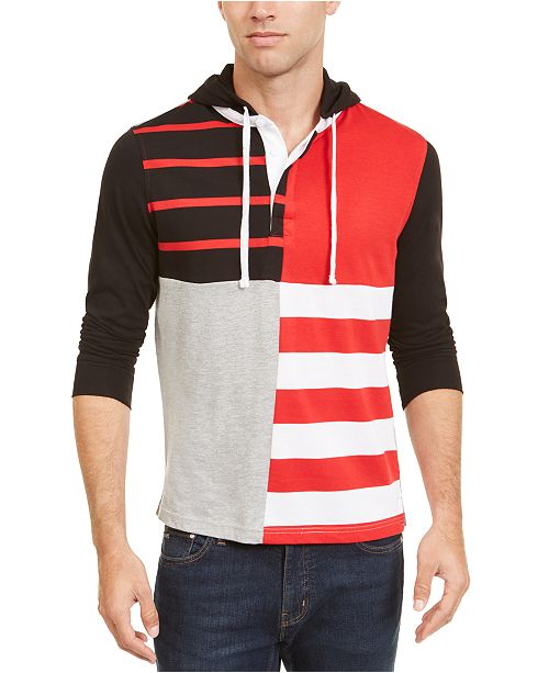 Club Room Men's Regular-Fit Colorblocked Hooded Rugby Polo Shirt, Created For Macy's