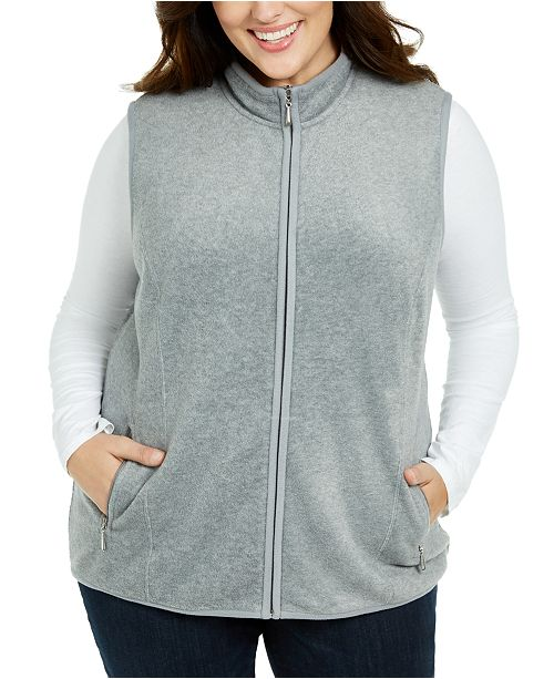 Karen Scott Plus Size Zip-Front Vest, Created for Macy's