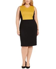 Kasper Plus Size Colorblocked Sheath Dress