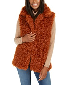 I.N.C. Shaggy Faux-Fur Duster With Collar, Created For Macy's