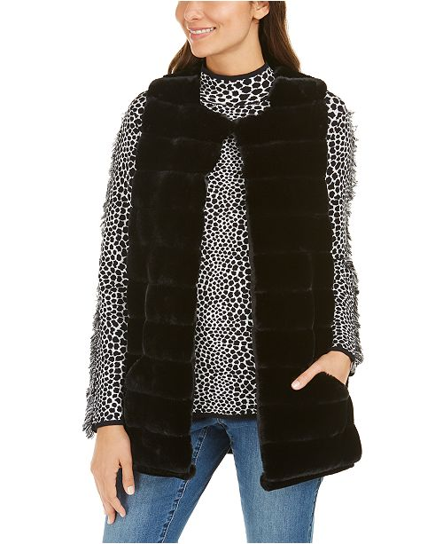 INC International Concepts INC Quilted Faux-Fur Duster, Created For Macy's