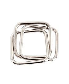 Three Squares Design Napkin Ring, Set of 4