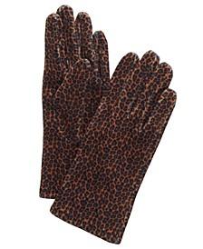 Leopard-Print Velvet Gloves