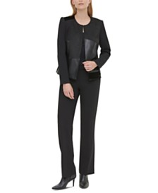 Calvin Klein Collarless Mixed-Media Jacket