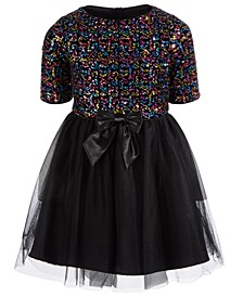 Big Girls Rainbow-Sequined Bow Dress